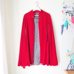 Jackets & Blazers - Red velvet cape with jewelled closure
